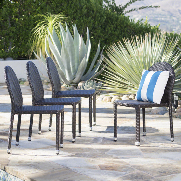 Amallie Outdoor Wicker Stacking Chairs with an Aluminum Frame (Set of 4)