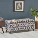 Bancroft Lift-Top Storage Ottoman with Birch Wood and Studded Velvet