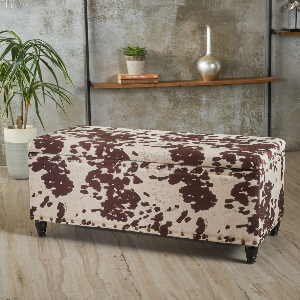 Talia Milk Cow Velvet Rectangle Storage Ottoman Bench