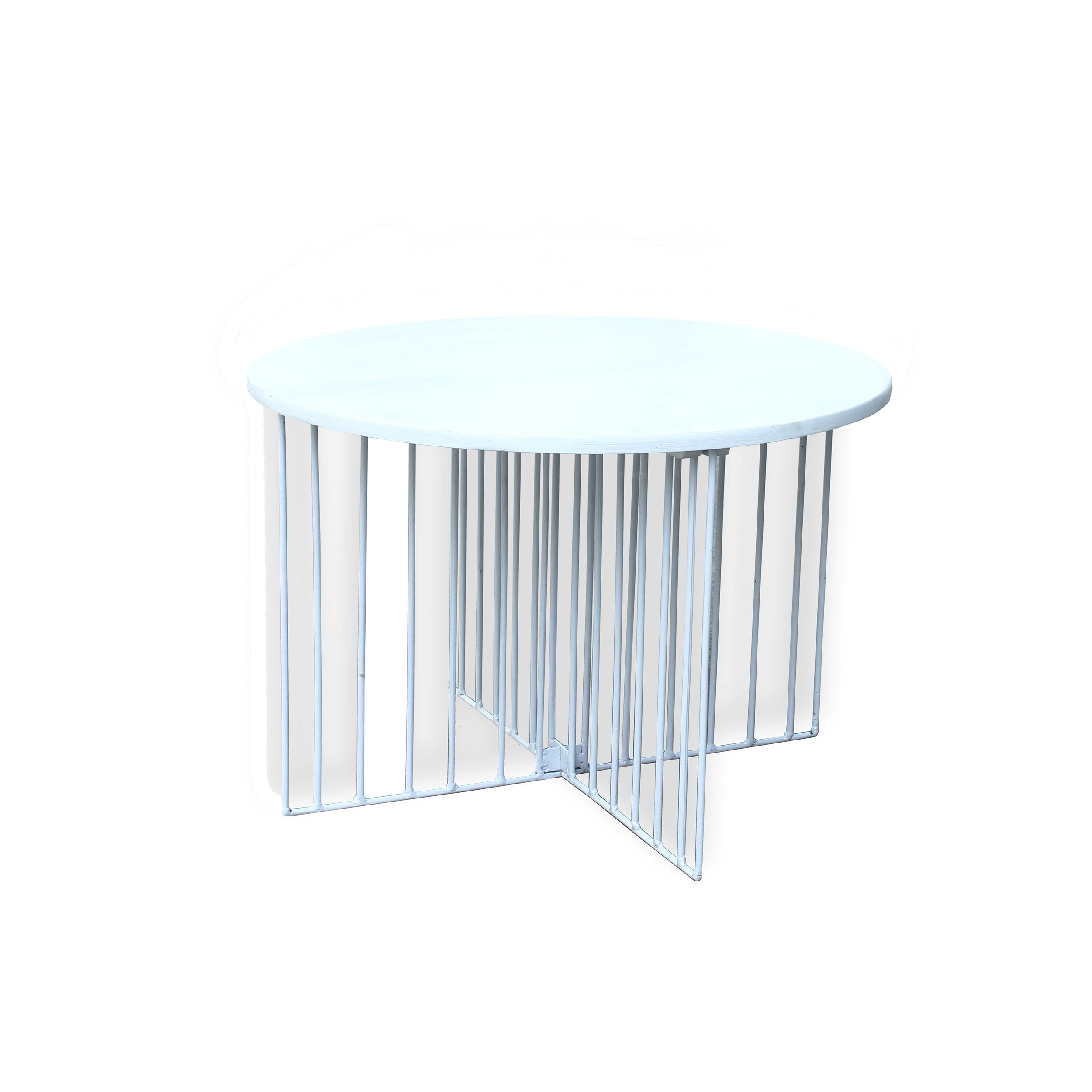 Alissa Modern White Finished Mango Wood Coffee Table with White Finished Metal Frame