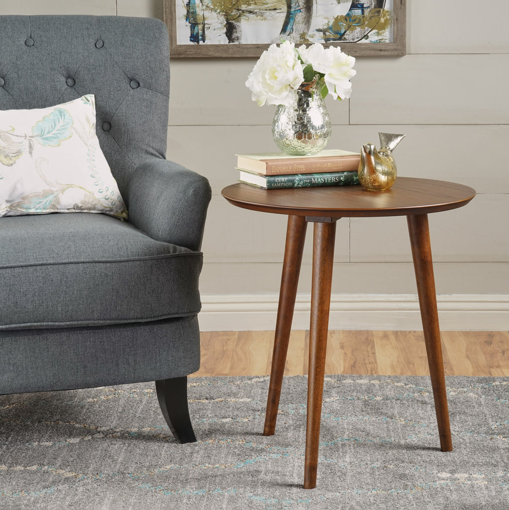 Evangeline Finished Wood End Table W Faux Wood Overlay