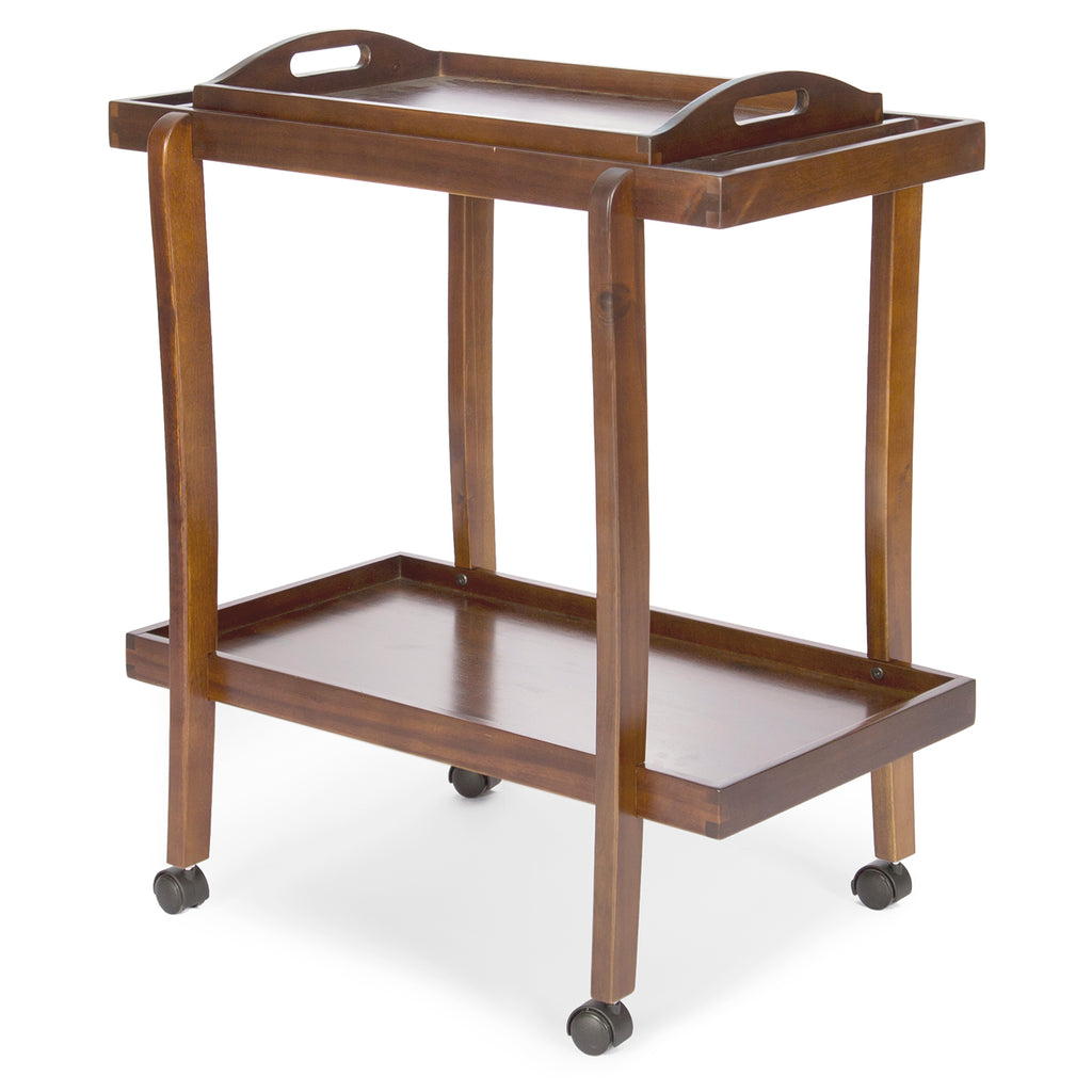 Patty Dark Oak  Acacia Wood Bar Cart with Removable Top Tray