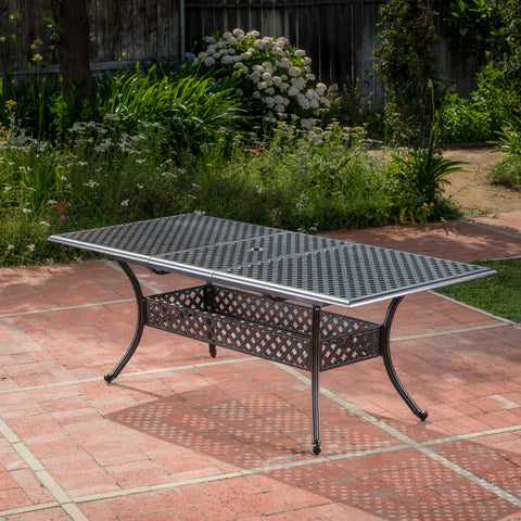 Ariel Outdoor Patina Copper Finish Expandable Dining Table