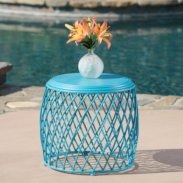 Alameda Outdoor 19 Inch Diameter Lattice Iron Side Table
