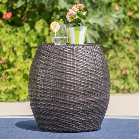 "Channing Outdoor Wicker 14.00"" Barrel Side Table"