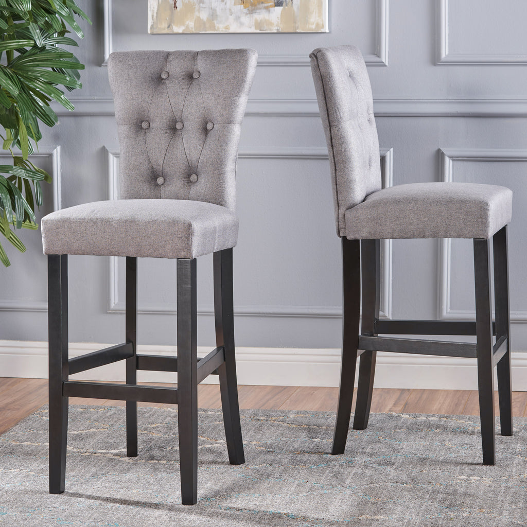 Padma 30 Inch Tufted Back Fabric Barstools Set Of 2