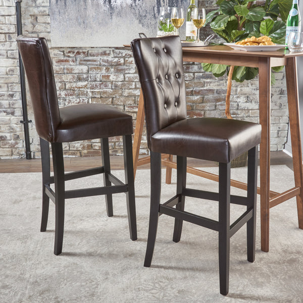 Padma Tufted Back Brown Leather 30 Inch Barstools Set Of
