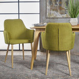 Serra Mid Century Fabric Dining Chair with Wood Finished Metal Legs (Set of 2)