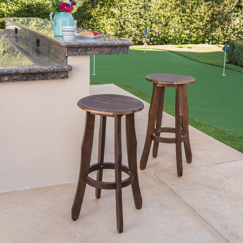 Primrose 30-Inch Outdoor Dark Brown Finished Acacia Wood Barstools