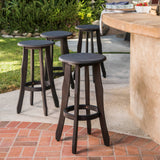 Primrose 30-Inch Outdoor Dark Grey Finished Acacia Wood Barstools