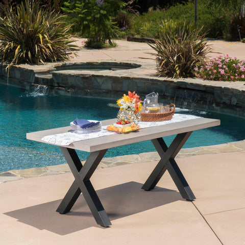 Galatian Outdoor White Lightweight Concrete Dining Table w/ Black Iron Legs