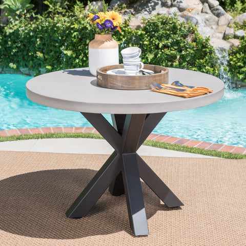 Carina Outdoor Iron Pedestal Base, Light Weight Concrete Dining Table
