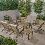 Lester Outdoor 6 Seater Acacia Wood Extended Chat Set