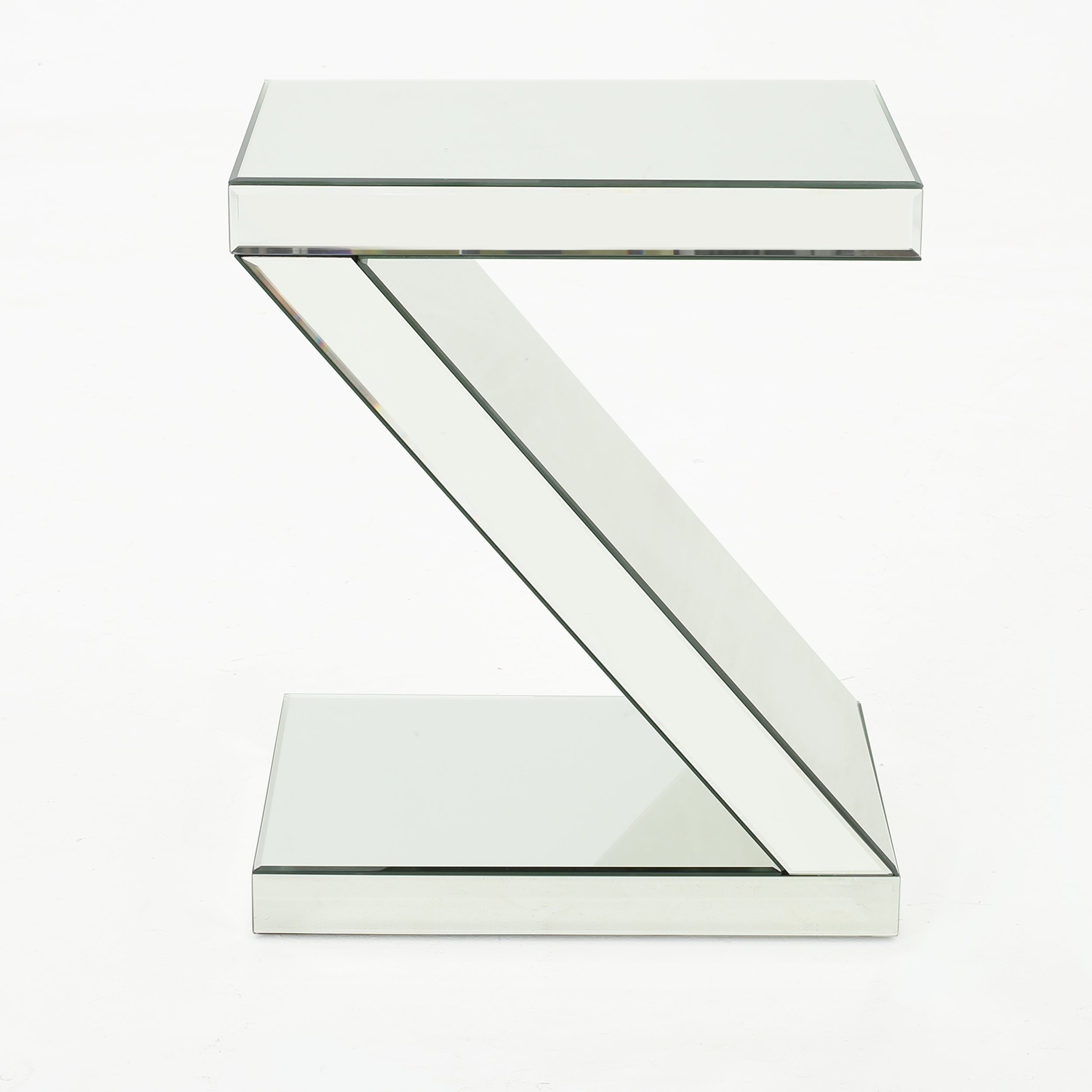 Adu Mirrored Z Shaped Side Table Default Title