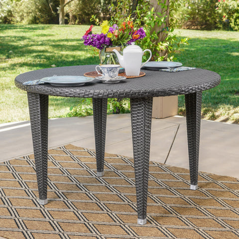 Dunedain Outdoor Round Wicker Dining Table