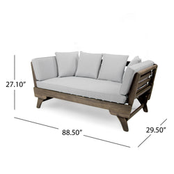 Othello Outdoor Gray Finished Acacia Wood Daybed with Water Resistant