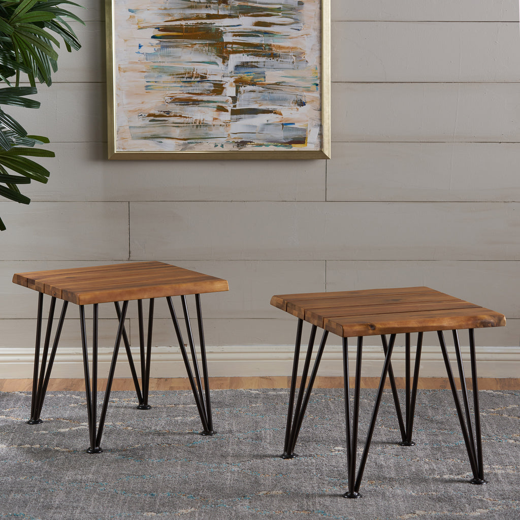 Avy Rustic Industrial Acacia Wood Side Table with Metal Hairpin Legs (Set of 2), Teak