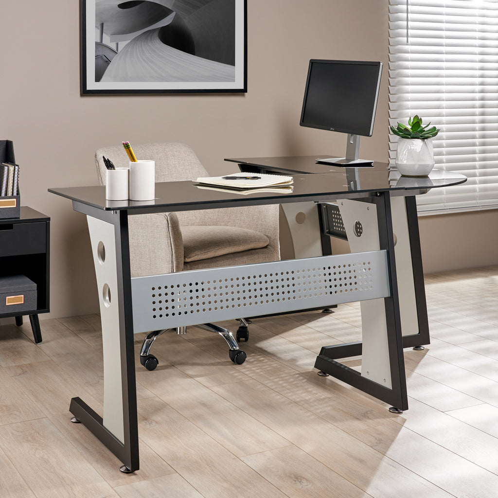 Orion Modern L-Shaped Black and Gray Iron Office Desk with Tempered Glass  Top