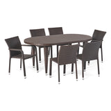 Evanch Outdoor 7 Piece Multi-brown Wicker Oval Dining Set with Stacking Chairs