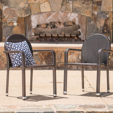 Ava Outdoor Wicker Armed Aluminum Framed Stack Chairs (Set of 2)