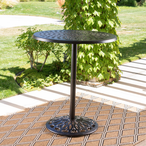 Arianna Outdoor Cast Aluminum Patina Copper Bar Table