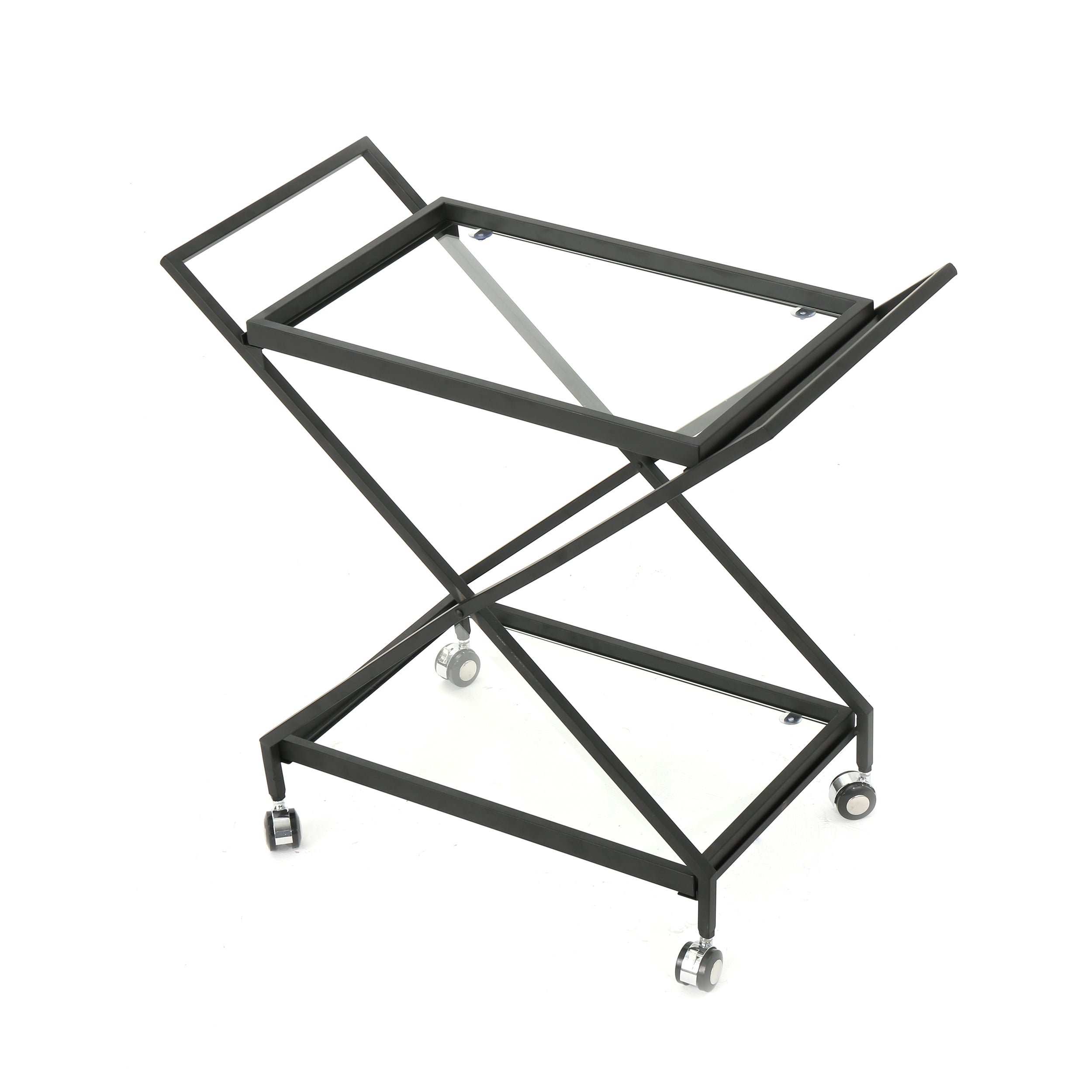 Annika Outdoor Black Powder Coated Iron Bar Cart with Tempered Glass Shelves Default Title