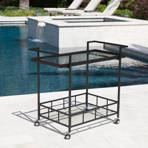 Selma Outdoor Industrial Black Powder Coated Iron Bar Cart with Tempered Glass Shelves