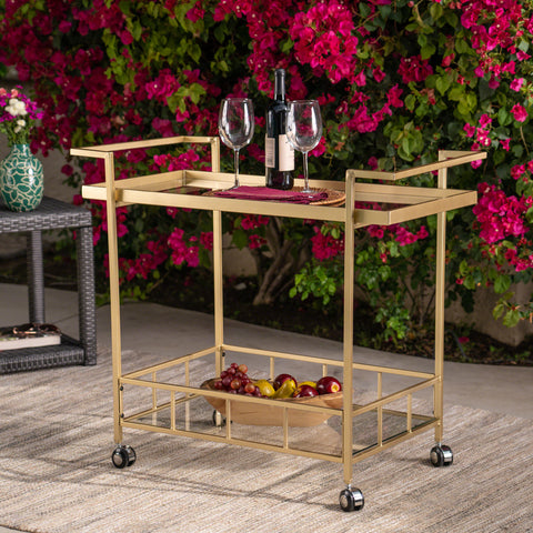Fern Outdoor Industrial Iron and Glass Bar Cart, Gold