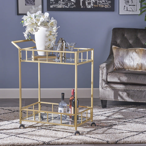 Louise Indoor Industrial Modern Iron and Glass Bar Cart, Gold