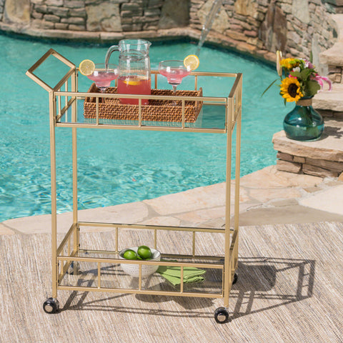Alice Outdoor Modern Iron and Glass Bar Cart, Gold
