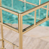 Alice Outdoor Industrial Modern Iron and Glass Bar Cart, Gold