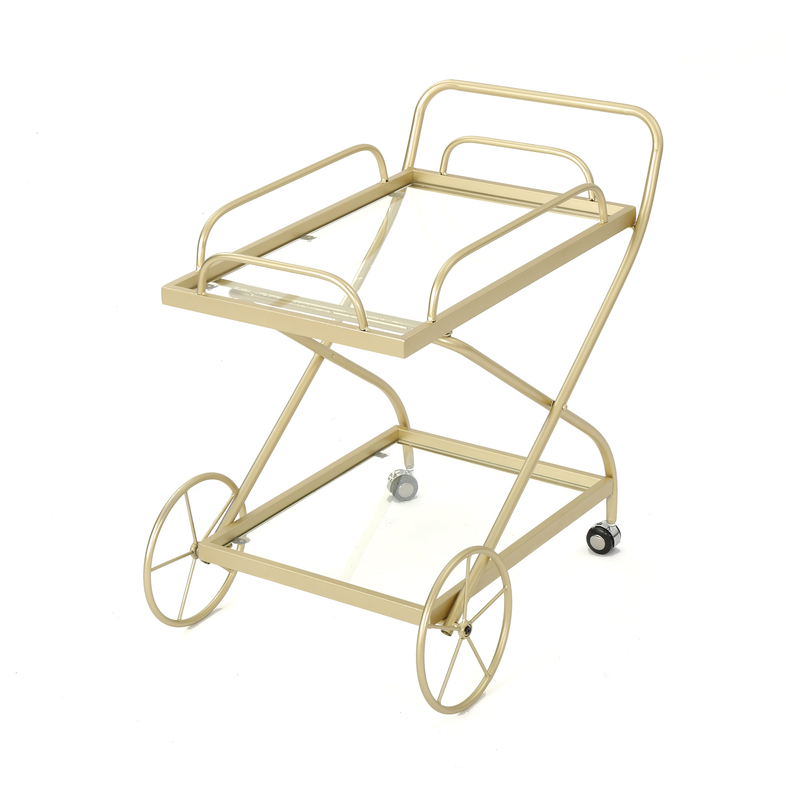 Afzelius Outdoor Traditional Iron and Glass Bar Cart Gold