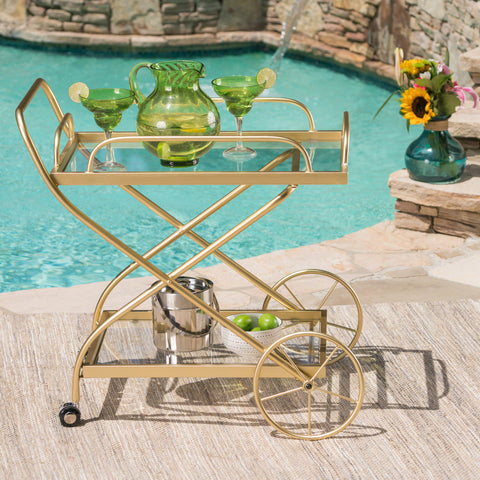 Bunny Outdoor Traditional Iron and Glass Bar Cart, Gold