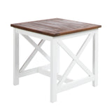 Selvan Indoor Farmhouse Cottage Dark Oak Acacia Wood End Table with White Frame
