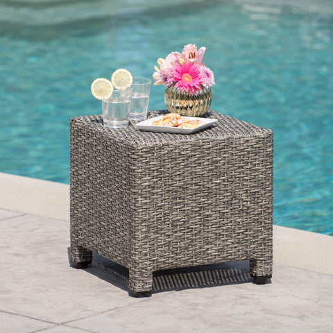 Pueblo Outdoor Mixed Black Wicker Side Table