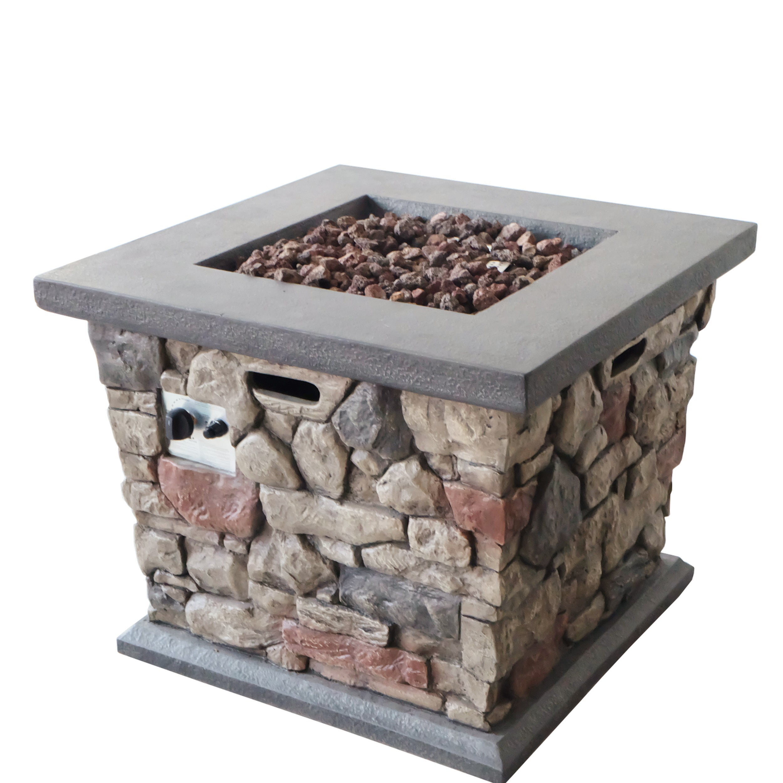 Alyna Outdoor Stone Finished Square Fire Pit 40000 BTU Default Title