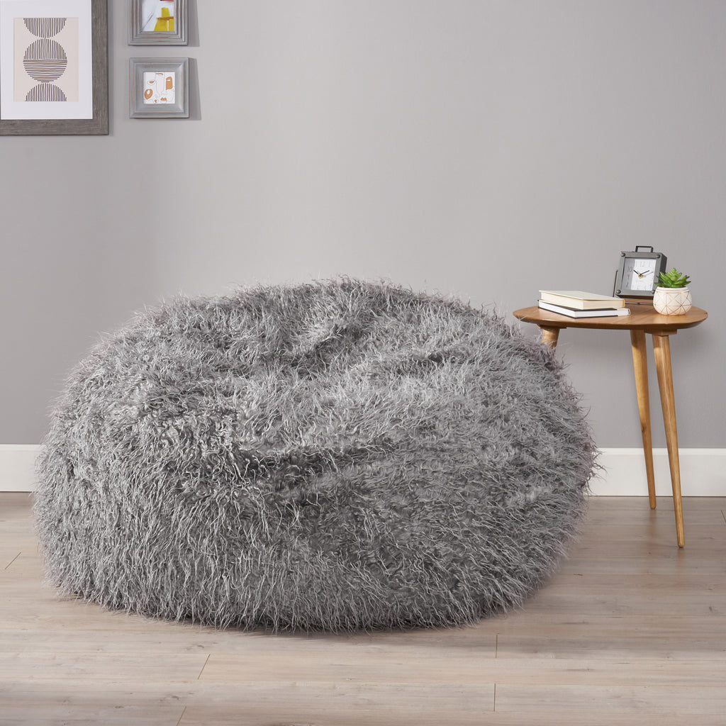 Sae 5 Ft Long Faux Fur Bean Bag