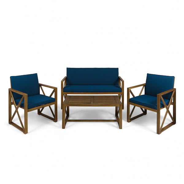 Penny Outdoor Acacia Wood 4 Piece Chat Set with Cushions