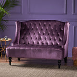 Leona French Style High Back Tufted Winged Velvet Loveseat