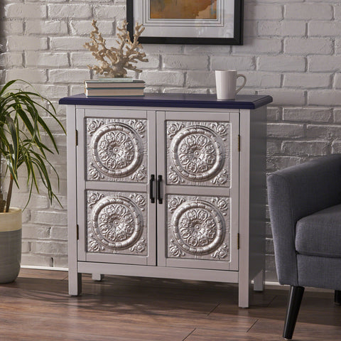Aliana Finished Firwood Cabinet with Faux Wood Overlay and Accented Top