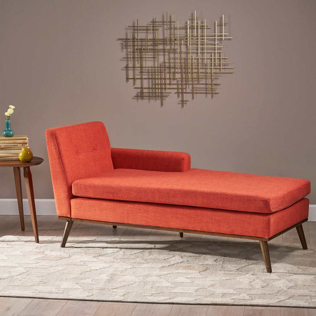 Sophia Mid-Century Modern Fabric Chaise Lounge