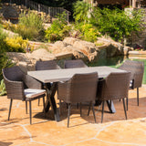 Maccie Outdoor 7 Piece Concrete Table, Water Resistant Cushion Wicker Dining Set