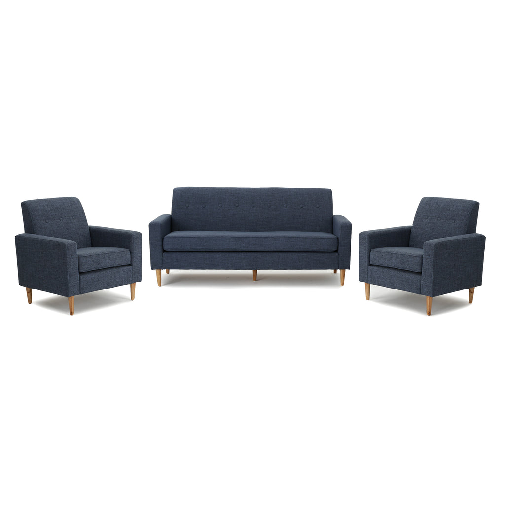 Stratford Mid-Century Modern 3-Piece Fabric Chairs & Sofa Living Room Set