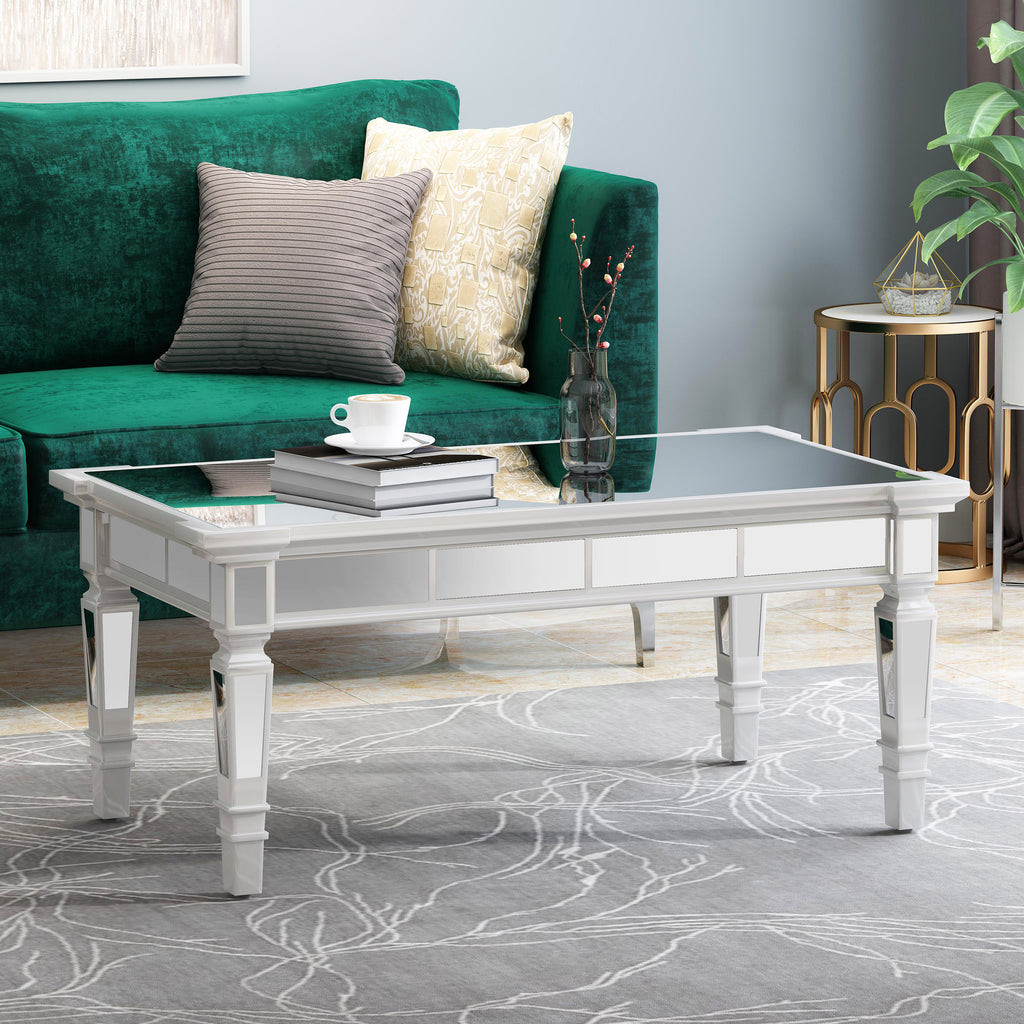 Sola Mirror Finished Faux Wood Coffee Table