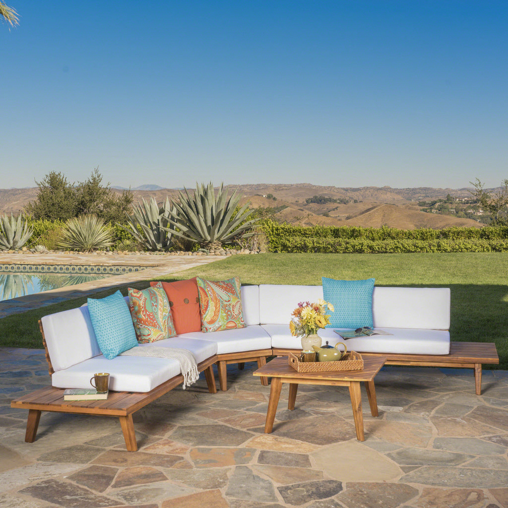 Hillside Outdoor V Shaped 4 Piece Acacia Wood Sectional Sofa Set