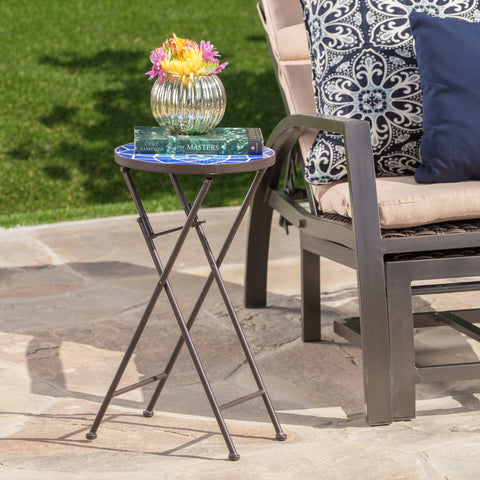 Arwen Outdoor Blue and White Glass Side Table with Iron Frame