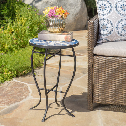 Harington Outdoor Blue & White Ceramic Tile Iron Frame Side Table
