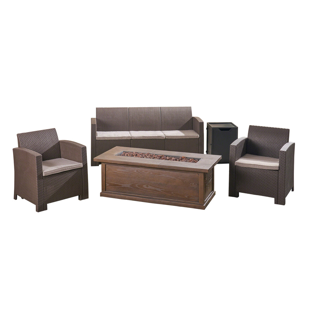 Ian Outdoor 5-Seater Wicker Print Chat Set with Fire Pit and Tank Holder