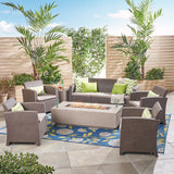 Ken 7-Seater Outdoor Chat Set with Fire Pit