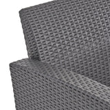 Halston Outdoor 2-Seater Wicker Print Club Chair Chat Set with Propane Fire Pit